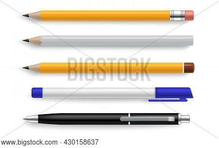 Pen And Pencil. Realistic Stationery Tools For Writing And Drawing. Yellow And White Objects With Sh