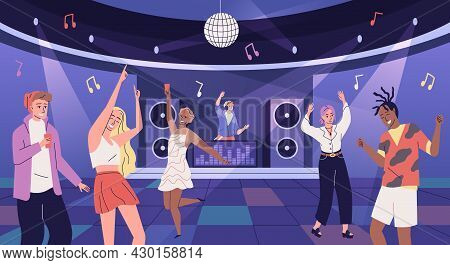 Disco Club People. Young Guys And Girls Having Fun At Discotheque. Friends Group On Dance Floor Of N