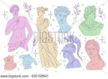 Antique Statues. Modern Draw Style, Beautiful Historical Greek Sculptures, Ancient Art Objects, Head