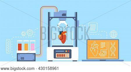 Medical 3d Printing. Robotic Machine Prints Heart. Creating Internal Organs For Transplantation. Hea