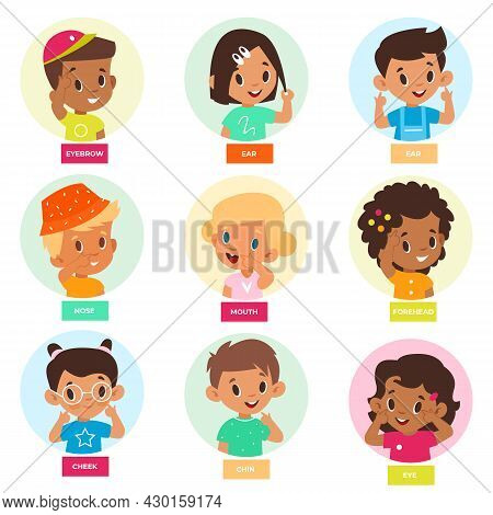 Kid Pointing Face Part. Cute Children Denote Facial Features, Show Forehead, Cheek, Eyes And Nose, E