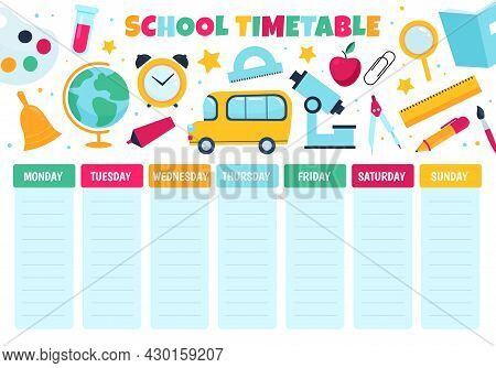 School Timetable. Learnings Classes Scheduling, Study Weekly Planner, Primary Classes Little Student