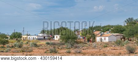 Steytlerville, South Africa - April 21, 2021: Panorama Of Houses With Solar Geysers In A Township In