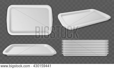 Food Trays. Realistic Plastic White Salvers. Rectangular Dinner Container Mockup. Top View On Kitche