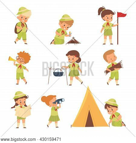 Scouts Kids. Boys And Girls In Uniform Learning Survival In Wild. Young Nature Explorers And Adventu