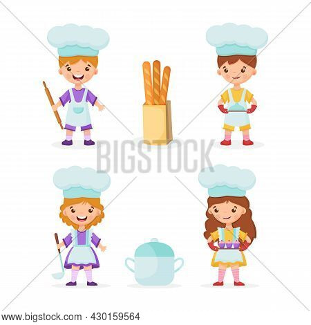Boys Bakers Are Holding A Rolling Pin And A Tray With A Dish. Girl Chef With Ladle And Saucepan.