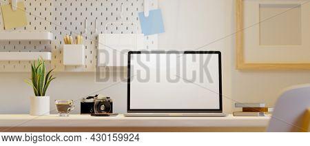 Closeup, Modern Girlish Home Workspace, Laptop Screen Mockup