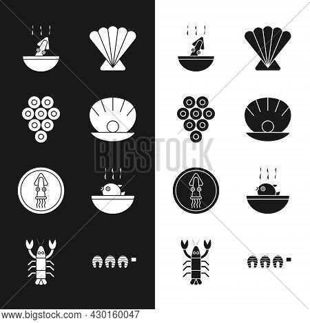 Set Shell With Pearl, Caviar, Soup Octopus, Scallop Sea Shell, Octopus On Plate, Puffer Fish Soup, G