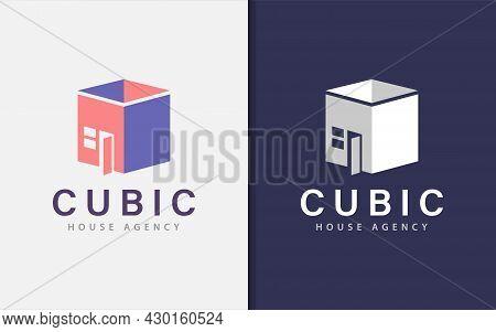 Simple 3d Cubic With House Combination Logo Design. Graphic Design Element.