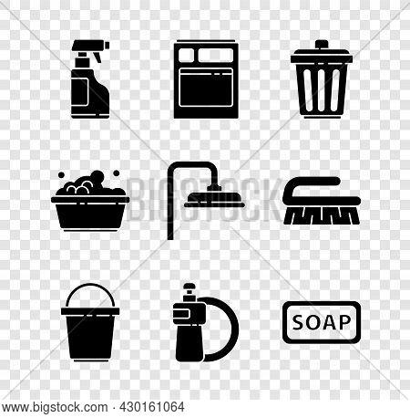 Set Spray Bottle With Detergent Liquid, Kitchen Dishwasher Machine, Trash Can, Bucket, Dishwashing A