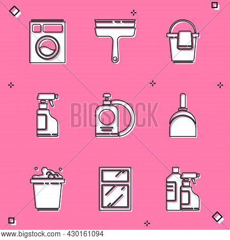 Set Washer, Rubber Cleaner For Windows, Bucket With Rag, Spray Bottle Detergent Liquid, Dishwashing