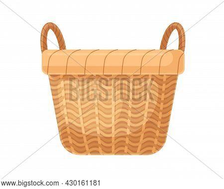 Empty Straw Wicker Basket With Handles. Woven Braided Basketwork Without Lid. Realistic Wickerwork F