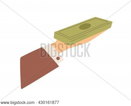 Hand Holding Money Stack, Giving Or Receiving Cash. Male Arm With Dollar Banknotes On Palm Paying Fo