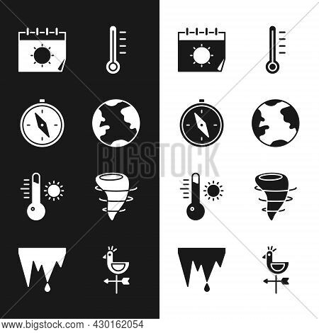 Set Earth Globe, Compass, Calendar And Sun, Meteorology Thermometer, Tornado, Rooster Weather Vane A