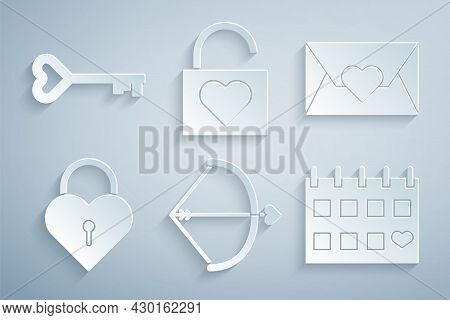Set Bow And Arrow, Envelope With Valentine Heart, Castle The Shape Of, Calendar, Lock And Key Icon.