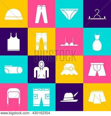 Set Skirt, Men Underpants, Woman Dress, Pants, Sleeveless T-shirt, Beanie Hat And Bra Icon. Vector