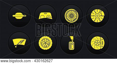 Set Windscreen Wiper, Car Brake Disk With Caliper, Wheel, Gear Shifter, Windscreen, And Door Handle