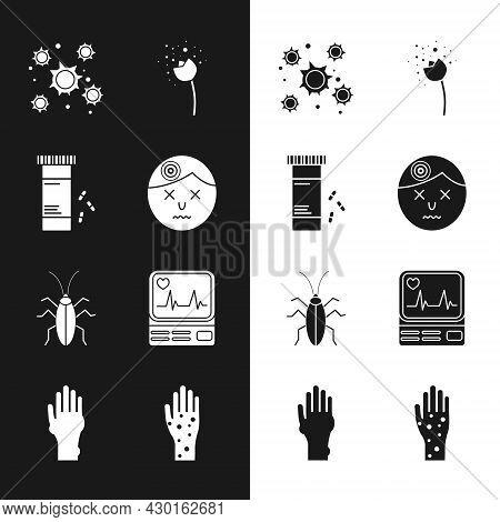 Set Man Having Headache, Medicine Bottle And Pills, Bacteria, Flower Producing Pollen, Cockroach, Mo