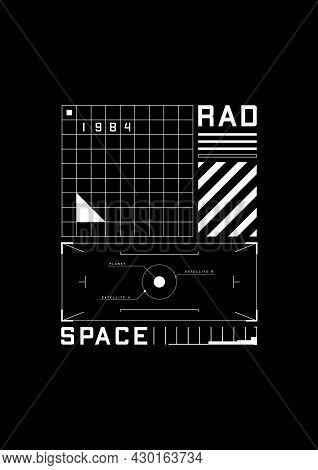 Space 1984 T-shirt And Apparel Design With The 1980s Space Aesthetics Retro-future. Retrofuturistic