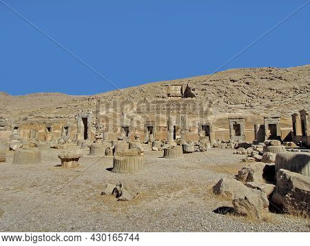 View On Remains Of Royal Palace Of 100 Columns In Persepolis, Ancient Capital Of Persia. Unfinished