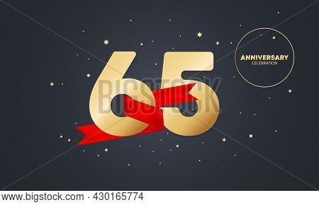 65 Year Anniversary Banner With Red Ribbon On White. 65th Years Celebration. Poster Or Brochure Temp