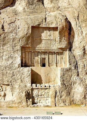 Tomb Of Persian King Darius The Great In Naqsh-e Rostam, Near Persepolis In Iran. Upper Part Of Reli