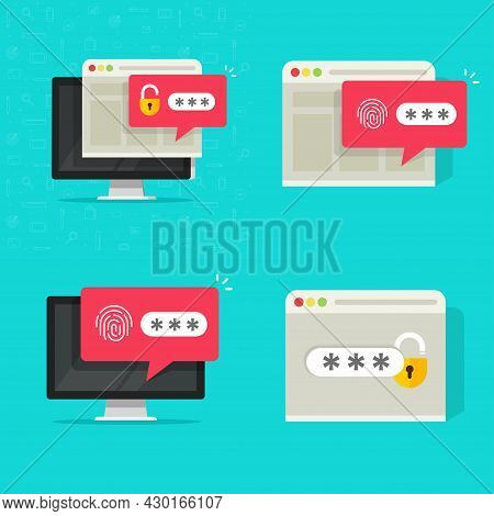 Password Secure Authorization With Unlocked And Locked Website Access On Computer Pc Vector Icon Fla