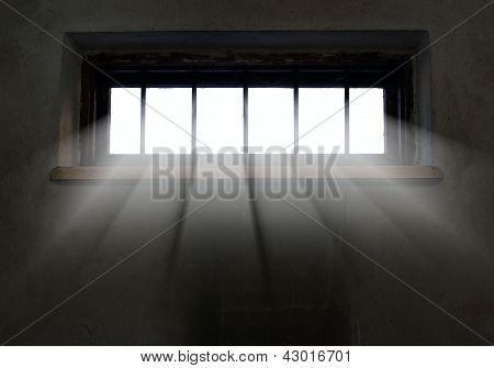 Light Is Coming Through The Barred Window