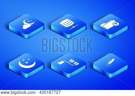 Set Ufo Flying Spaceship And Alien, Cloud With Moon Stars, Folder Tree, Moon, Server, Data, Web Host