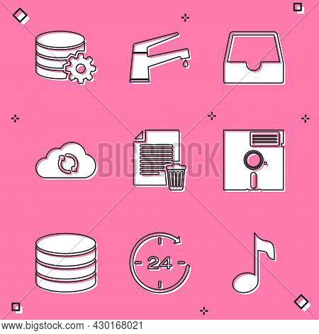 Set Setting Database Server, Water Tap, Social Media Inbox, Cloud Sync Refresh, Delete File Document