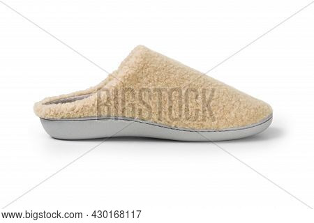 Beige Home Slippers, Design Mockup. Hotel Bath Slippers Top View Isolated On White Background. Clear