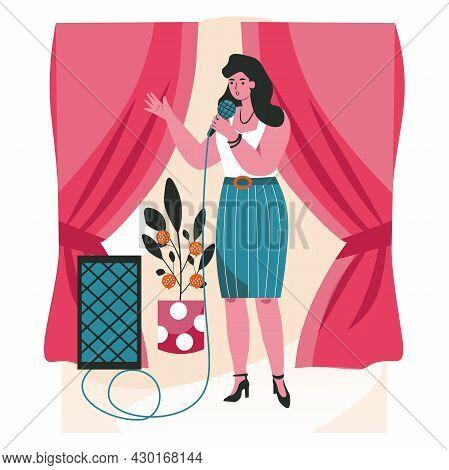 People Do Their Favorite Hobby Scene Concept. Woman With Microphone Singing In Karaoke. Female Singe