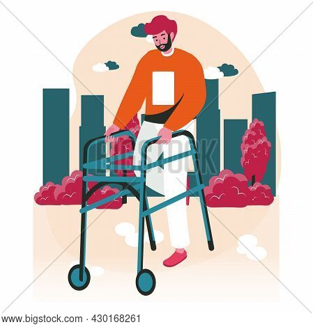 Disabled People Scene Concept. Handicapped Man With Walker Walking Down Street At Street. Accessibil