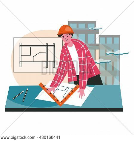 Architect Draws Blueprint Scene Concept. Engineer In Helmet Drawing Project Of Building. Contractor