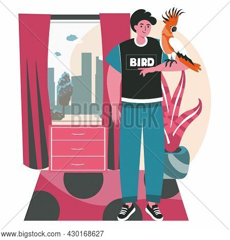 Pets With Their Owners Scene Concept. Man Stands And Parrot Sits On Hand. Taking Care Of Pets, Relat