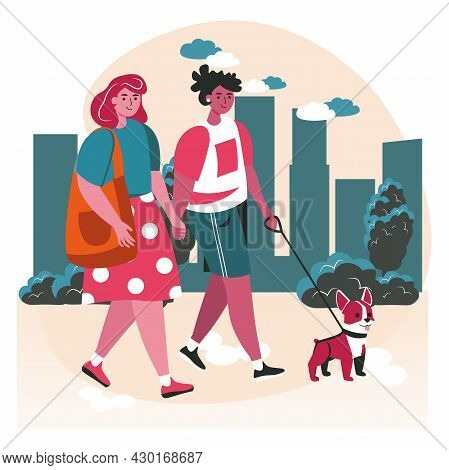 Diverse Homosexual Multiracial Lesbian Couples Scene Concept. Women Walk Dog Together And Hold Hands