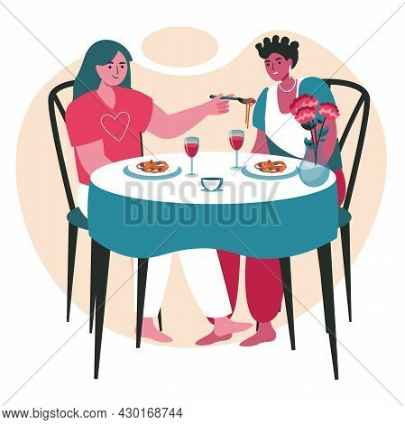 Diverse Homosexual Multiracial Lesbian Couples Scene Concept. Women Have Dinner In Restaurant. Famil