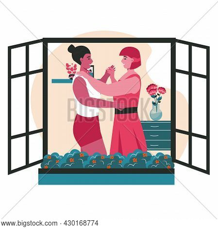 Diverse Homosexual Multiracial Lesbian Couples Scene Concept. Women Dancing In Window Of Building. F