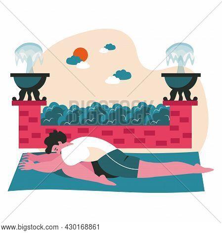 People Doing Yoga Asanas Scene Concept. Man Performs Semi Twine. Sports Training, Body And Health Ca