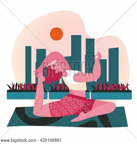 People Doing Yoga Asanas Scene Concept. Woman Practicing Stretching Pose. Sports Training, Body Heal