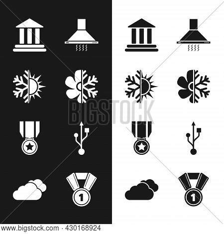 Set Air Conditioner, Sun And Snowflake, Bank Building, Kitchen Extractor Fan, Medal With Star And Us