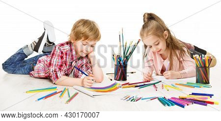 Kids Drawing And Painting. Child Creative Development. Preschooler Children Education And Active Pla