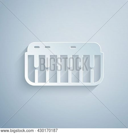 Paper Cut Music Synthesizer Icon Isolated On Grey Background. Electronic Piano. Paper Art Style. Vec