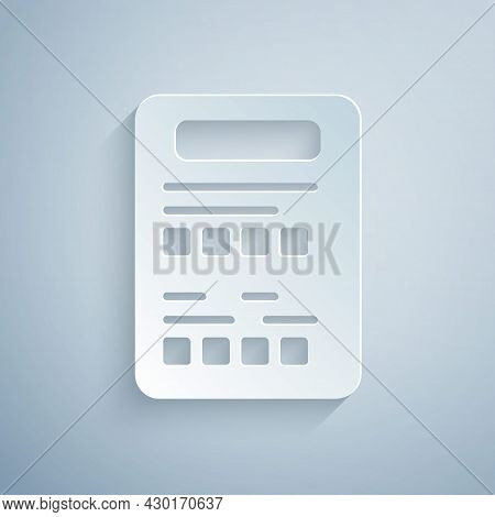 Paper Cut Exam Sheet Icon Isolated On Grey Background. Test Paper, Exam, Or Survey Concept. School T