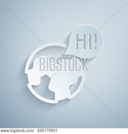Paper Cut Learning Foreign Languages Icon Isolated On Grey Background. Translation, Language Interpr