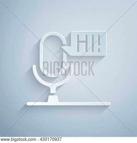 Paper Cut Microphone Voice Device Icon Isolated On Grey Background. Microphone Interpreter And Alpha