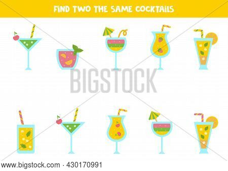 Find Two The Same Summer Cocktails. Educational Logical Game For Kids.