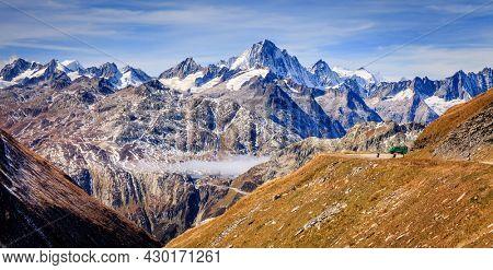 Scenic view of snow-capped alpine peaks in Switzerland