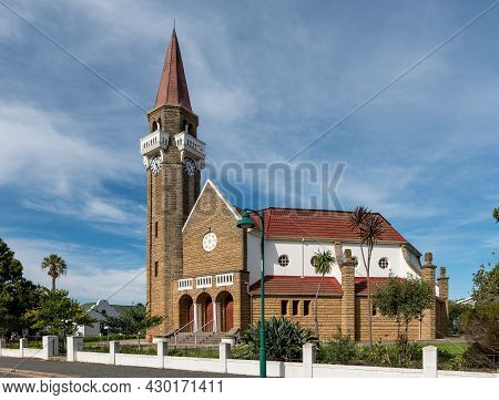 Stanford, South Africa - April 12, 2021: A Street Scene, With The Dutch Reformed Church, In Stanford