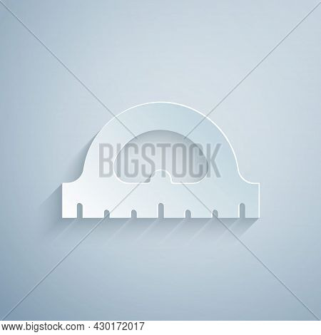 Paper Cut Protractor Grid For Measuring Degrees Icon Isolated On Grey Background. Tilt Angle Meter.